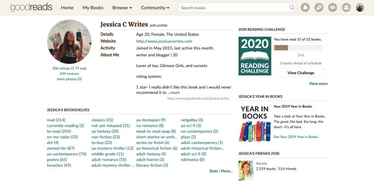goodreads account